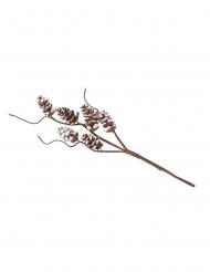 Branche pommes de pin enneigées avec tortueux 23 cm