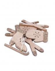 12 Petites décorations de table Noël en bois paillettes cuivrées