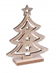 Sapin de Noël en bois paillettes cuivrées 18 cm