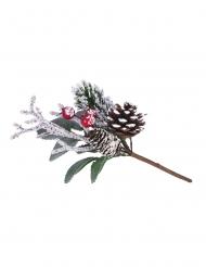 Branche Noël traditionnel enneigée 15,5 cm