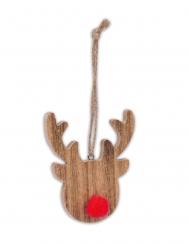 Rudolph en bois nez pompon rouge 8 x 7 cm
