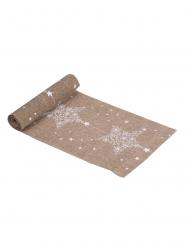 Chemin de table en lin Constellation blanche 28 cm x 3 m