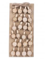 Kit calendrier de l'avent 24 pinces avec ficelle