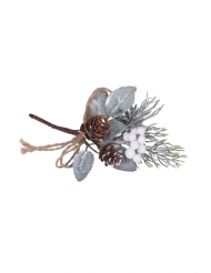 Branche féérique enneigée avec baies blanches 16 cm