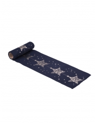 Sur chemin de table en lin bleu marine étoiles dorées 14.5 cm x 5 m