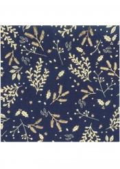 16 Serviettes en papier Hiver végétal marine et doré 33 x 33 cm