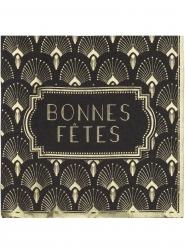 16 Serviettes en papier Bonnes Fêtes noires et dorées 33 x 33 cm