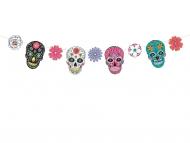 Guirlande en carton masques Dia de los Muertos 16 cm x 1,2 m