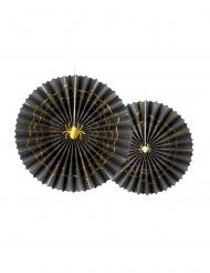 2 Rosaces décoratives en papier Araignée noires et dorées 32 et 40 cm