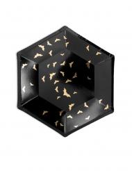 6 Assiettes en carton Chauves souris noires et dorées 20 cm