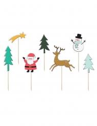 7 Pics décoratifs en bois Merry Xmas 12,5 à 18,5 cm