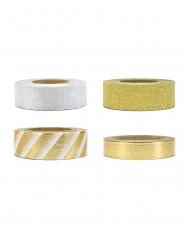 4 Washi tapes blancs et dorés 1,5 x 10 cm