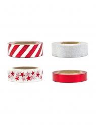 4 Washi tapes blancs argentés et rouges 1,5 cm x 10 m