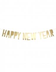 Guirlande en carton Happy New Year dorée 10 x 90 cm