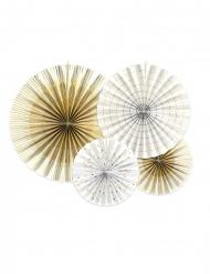 4 Rosaces décoratives en papier blanches et dorées 23, 32, 40 cm