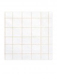 20 Serviettes en papier quadrillage blanches et dorées 33 x 33 cm