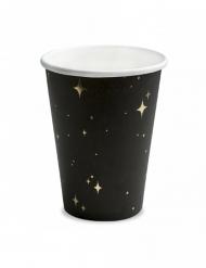 6 Gobelets en carton noirs et étoiles dorées 260 ml