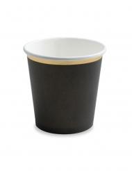 6 Petits gobelets en carton noirs et dorés 100 ml