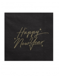 20 Serviettes en papier Happy New Year noires et or 33 x 33 cm