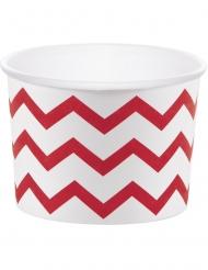 6 Moules à cupcake en carton blanc à chevrons rouges 8,89 x 6,35 cm