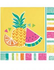 16 Petites serviettes en papier Fruits d'été jaunes 25 x 25 cm