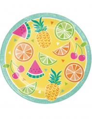 8 Assiettes en carton Fruits d'été jaunes 23 cm