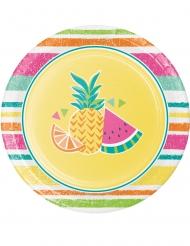8 Petites assiettes en carton Fruits d'été jaunes 18 cm
