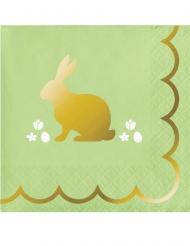 16 Petites serviettes en papier Lapin doré 25 x 25 cm