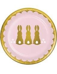 8 Petites assiettes en carton Lapins dorés 18 cm