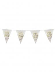 Guirlande fanions Happy New Year blanche et dorée 4 m