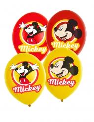 6 Ballons en latex Mickey Mouse™ jaunes et rouges 27,5 cm