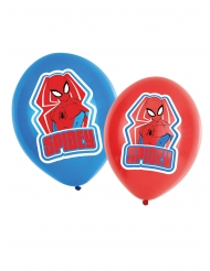 6 Ballons en latex Spiderman™ rouges et bleus 27,5 cm