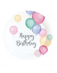 8 Petites assiettes en carton Happy Birthday ballons pastel 18 cm