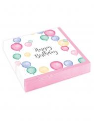 20 Petites serviettes en papier Happy Birthday ballons pastel 25 x 25 cm