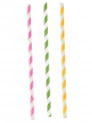 12 Pailles en papier rayées roses, vertes et jaunes