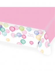 Nappe en papier Happy Birthday ballons pastel 115 x 175 cm