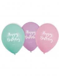 6 Ballons en latex Happy Birthday pastel 22,8 cm