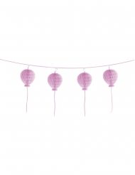 Guirlande boules en papier alvéolées Happy Birthday rose pastel