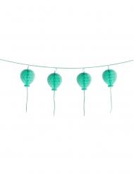 Guirlande boules en papier alveolées Happy Birthday turquoise pastel