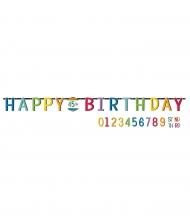 Guirlande Happy Birthday personnalisable 25 cm x 3,2 m