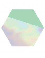 8 Petites assiettes en carton hexagonales Shimmering Party 18 cm