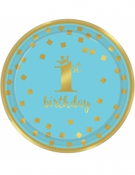 8 Petites assiettes en carton 1st Birthday bleu et or 18 cm