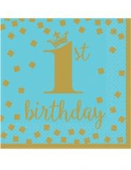 16 Serviettes en papier 1st Birthday bleu et or 33 x 33 cm