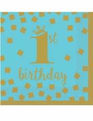 16 Petites serviettes en papier 1st Birthday bleu et or 25 x 25 cm