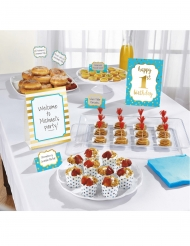 Kit de décoration buffet 1st Birthday bleu 12 pièces
