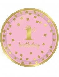 8 Petites assiettes en carton 1st Birthday rose et or 18 cm