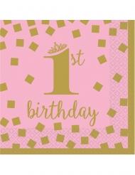 16 Petites serviettes en papier 1st Birthday rose et or 25 x 25 cm