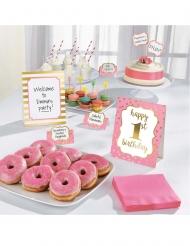 Kit de décoration buffet 1st Birthday rose 12 pièces