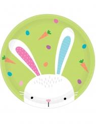 8 Assiettes en carton Hello Bunny 23 cm