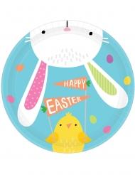 8 Petites assiettes en carton Hello Bunny 18 cm